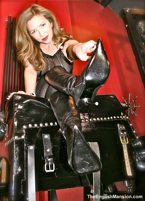 Mistress T in sexy boots at The English Mansion.
