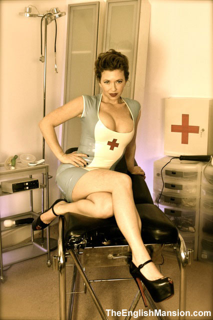 Mistress T as a latex nurse.
