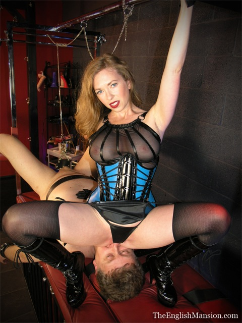 Mistress T facesitting a slave at The English Mansion.
