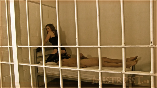 Mistress T with slave in prison.