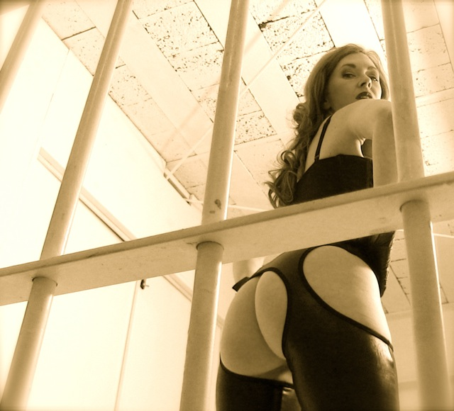 Mistress T as a prison guard.