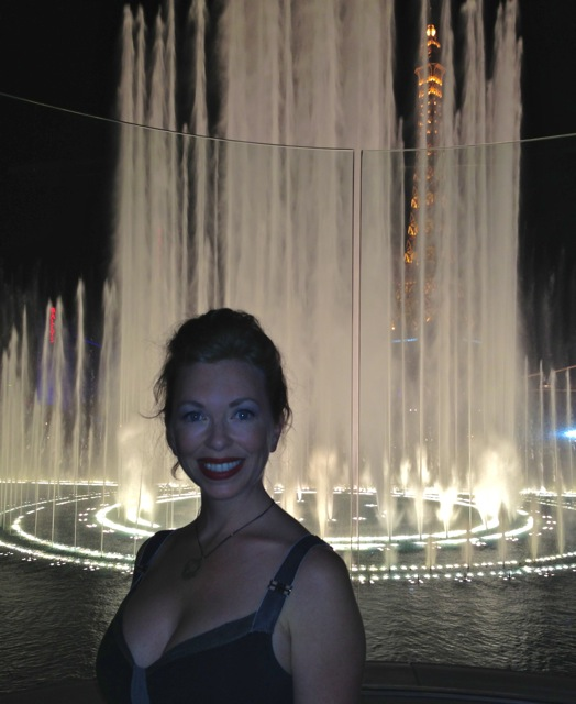 Mistress T in front of Bellagiao Fountain, Vegas July 2013.