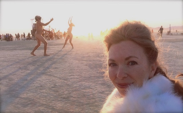 Mistress T at sunrise at Burning Man 2013.