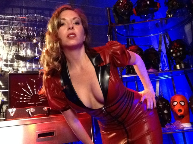 Mistress T in latex.