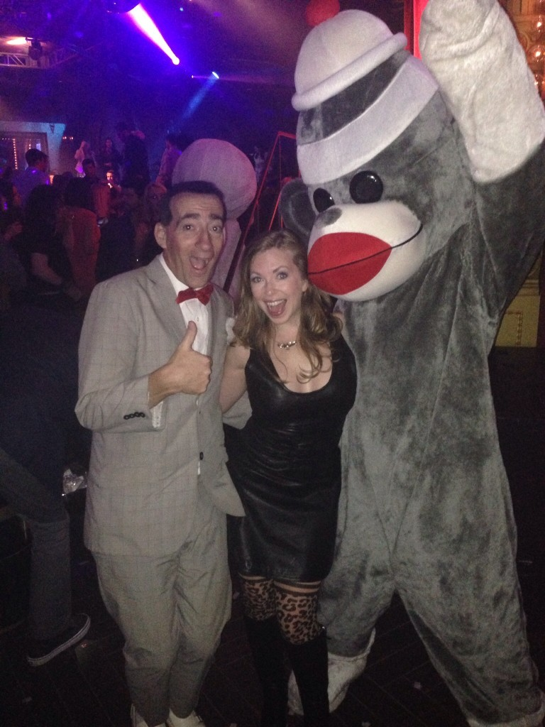 Mistress T with Pee Wee Herman & a sock puppet furry.