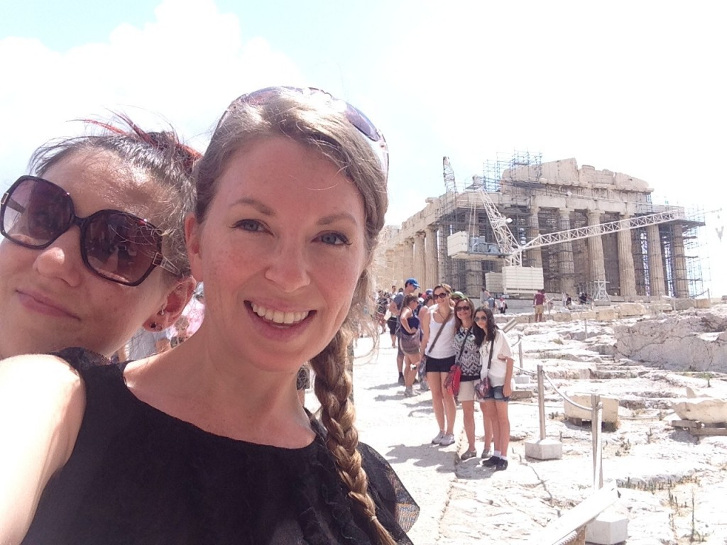 Meg & I (+ a billion other tourists) at the Acropolis in Athens, Greece. August 2014.