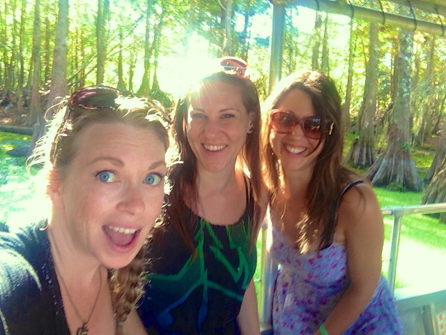 Meg, Ceara & I on the swamp tour through the Bayou.