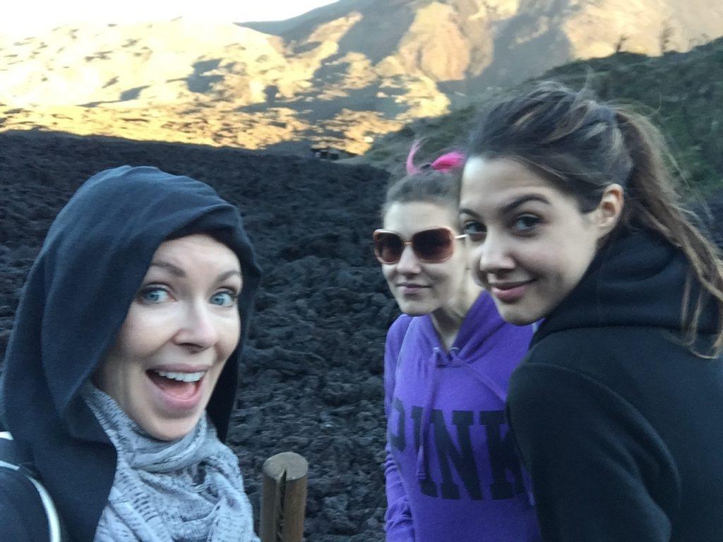 Meg, Ceara & I exploring a volcano.